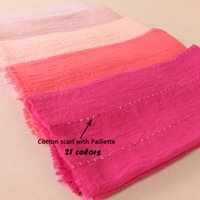 Wholesale wholesale wraps scarves - Plain Crinkled Bubble Cotton Sequins Scarf Soft Cotton Fringes Shawl Muslim Hijab Wrap Oversize Bandana 20PCS Lot 21Colors BS522