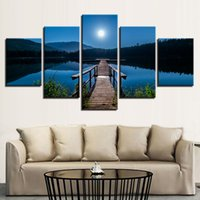 Wholesale lake picture frame - Canvas Wall Art Pictures HD Prints Posters 5 Pieces Bridge Calm Lake Moon Night Scene Paintings Home Decor Living Room Framework