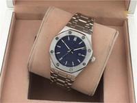 edelstahl blau groihandel-Heißer Verkauf Männer Frauen Sportuhr Royal EICHE Edelstahl Blau Zifferblatt 41mm Offshore Herren Quarzwerk Sport Armbanduhr Designer Uhr