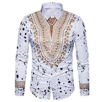 imagens de high fashion dress shirt venda por atacado-Camisa 3D Impressão Homens 2017 Tradicional Africano Dashiki Camisa Dos Homens de Manga Longa Slim Fit Casual Camisas de Vestido Dos Homens Camisas Masculinas