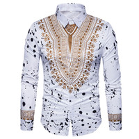 ingrosso abiti tradizionali di stampa-Camicia 3D Stampa Uomo 2017 tradizionali africani Dashiki Uomo Camicia a maniche lunghe Slim Fit Uomo Casual Camicie Camisas Masculinas