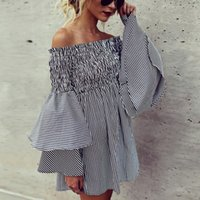Wholesale girls hot nights dress - Hot Selling Fashion Slash Neck Off the Shoulder Girl Dresses with Ruffled Stripe Cotton Puffy Sleeves A line Short Casual Dress for Women