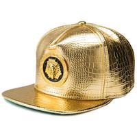 snapback bordes d'or achat en gros de-New Gold Égypte Pharaon Baseball Cap En Cuir PU Hip Hop Style Punk À Bord Plat Snapback Chapeau Hommes Femmes Cool Garçon De Mode Casquettes # HPO106 # HOP4