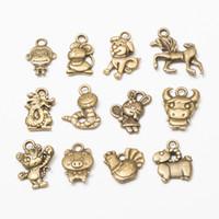 tier armbänder mischen großhandel-MIX Chinese Zodiac 12 Tiere Charm Bronze Perlen Anhänger für Armband Halskette Kette SCHMUCK DIY MACHEN