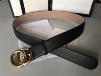 Wholesale Fashion designer belt accessories men metal buckle belt leather lychee texture black belt cm top quality with box