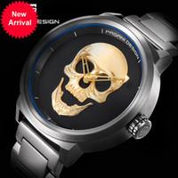 Wholesale Watch Punk - Punk 3D Skull Personality Retro Fashion Men's Watch Waterproof 30m Steel Stainless Quartz Watch PAGANI DESIGN Relogio Masculino