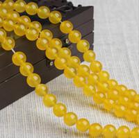 sarı agate jewelry toptan satış-8/10/12mm Doğal sarı Akik Boncuk taş yuvarlak Gevşek Boncuklu Bilezik DIY Takı Yapımı için seçim için daha fazla boyut