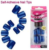 yapışkan mavi çivi toptan satış-FOREVERJASMINE24pcs Tam Kapak Donanma Kendinden Yapışkanlı Sahte Oje İpuçları Koyu Mavi Yapıştırılmış Yanlış Nails Saf Renk Fransız Manikür Çivi