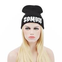 ingrosso beanie snapback-Cap Unisex Winter Black ZOMBIE CURSED UNICORN Beanie Hat E Snapback Gorros E Toucas # 2458
