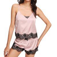 fc36dfacf9 2 Pieces Pajama Set Spaghetti Strap Lace Applique Satin Cami Top and Shorts  Pajama Set Summer Womens Sleepwear Pajama Set