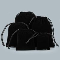 kadife mücevherat toptan satış-7 * 9 cm 50 adet Kadife İpli Mücevher Hediye Çantası / Kılıfı Düğün Favor Siyah Renk Takı Ambalaj Ekran