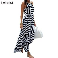 платье без рукавов с геометрическим рисунком оптовых-Summer Women Dress Chiffon Geometric Print Halter Tunic Sleeveless Long Maxi Party Boho Dresses With Belt Vestidos
