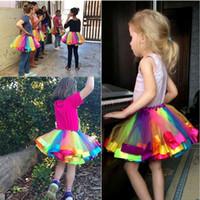 ingrosso gli stati della sfera-Fashion Explosion Models Europa e Stati Uniti Spring Rainbow Skirt Bambini Maglia cucita a righe Princess Tutu gonna 3-8 anni