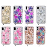 Wholesale galaxy note bling - Bling Foil Confetti Flake Real Flower Hard Plastic+Soft TPU Case For Iphone X 8 7 Plus 6 6s Galaxy S9 Note 8 Glitter Cover Fashion Clear