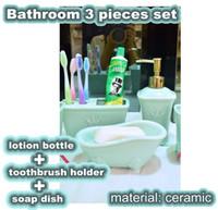 Wholesale Ceramic Lotion Bottles - European style Fashion Bathroom ceramic 3 pieces set toilet supplies kit toothbrush holder+lotion bottle+ bathtub soap dish