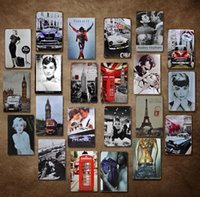Wholesale girl posters - 20*30cm Wall Decor Vintage Metal Painting Sexy Girl Garage Signs Tin Bar Poster Home Decor for Cafe Pub Restaurant Shop GGA556