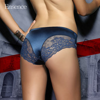 Wholesale women silk underwear bikini - 4 Pack Ensence Mixed Colors Sexy Lingerie Seamless Lace Briefs Satin Silk Panties Underwear Women Cotton Crotch