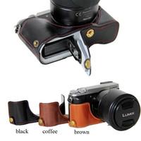 ingrosso dmc lumix-Custodia a mezza tasca per fotocamera classica in pelle PU per Panasonic Lumix DMC-GX80 Set mezza manica per fotocamera DMC-GX85 GX80 GX85