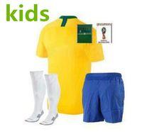 Wholesale unisex uniform pants - Kids 2018 world cup soccer Jersey Kids Kit home Soccer Jerseys #9 G.JESUS Child Soccer Shirts uniform Tops + pants + socks + patch