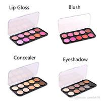 benutzerdefinierte lippenstift großhandel-Großhandel KEINE Label Makeup Beauty Kosmetik rauchigen Lidschatten Gesicht Concealer Blush Lipstick Lip Gloss Palette Bilden Sie Palettengewohnheit 2018