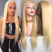 блузка китайские волосы кружева парики оптовых-613 блондинка полный парики шелковистые прямые китайские девственные человеческие волосы желтый кружева перед парики с ребенком отбеливатель волос узлы Бесплатная доставка