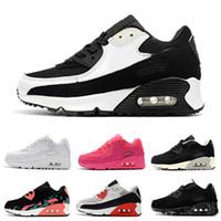 ingrosso scarpe classiche-Nike air max 90 2018 Infant Baby Boy Girl Kids Youth Bambini 350 scarpe Running Scarpe sportive Pirate Black classic 90 Sneakers eur 28-35