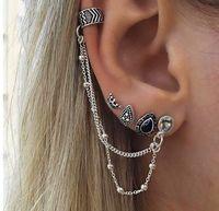 серьги панк цепи оптовых-ea114 Europe Gothic punk Bohemian retro style crown water droplets shape copper  chain earrings 4pcs/lot