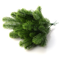 Wholesale Pine Flowers - 10PCS DIY Artificial Flower Wreath Fake Plants Pine Branches For Christmas Party Decor Xmas Tree Ornaments Kids Gift Supplies