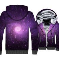 nebelfleck-sweatshirt großhandel-Space Galaxy 3D Print Kapuzenpullover Männer Bunte Nebel Kapuzenpullover Harajuku Mantel Winter Dicke Fleece Warme Paisley Nebula Jacke