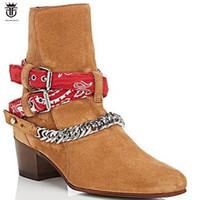 Nuovo arrivo nero marrone mucca pelle scamosciata stivali da uomo di alta  qualità caviglie botas catene caviglia scarpe col tacco basso mens b50d44cb48c
