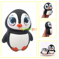 Wholesale cute penguin cartoons - New Arrival 14CM Jumbo Animal Penguin Kawaii Cute Cartoon Squishy Slow Rising Phone Straps Soft Bread Cake kid Toy Gift New Design
