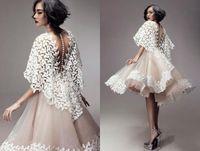 enveloppements châle en organza achat en gros de-2018 nouvelles robes de soirée courtes enveloppées châle de dentelle une ligne organza champagne voir à travers des robes de cocktail dos nu