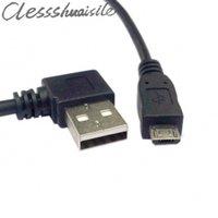 usb left venda por atacado-Left Angled USB 2.0 Macho 90 graus para USB Micro cabo 0.5 m 50 cm para Carregar a transmissão de dados