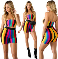 Wholesale colorful crop tops - Women Crop Top and Shorts Set Rainbow Colorful Two Piece Outfits Sexy 2 Pcs Pants Set Strapless Top Conjunto Feminino CM210