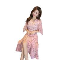 baumwollschläger großhandel-Flora Printed Dresses Rosa Lavendel V-Ausschnitt Halblanges, trägerloses Fledermauskleid mit plissierten, lässigen asymmetrischen Mustern Hochwertiger Baumwoll-Chiffon