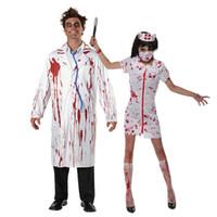 disfraz de zombie hombre al por mayor-Umorden Carnaval Fiesta de Halloween Blanco Bloody Zombie Doctor Traje de enfermera Hombres Mujeres Pareja Adulto Scary Doctor Disfraces Cosplay