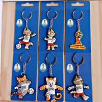 Wholesale Tiger Rings Women - 2018 Russian World Cup Mascot Wolf Tiger Design Key Ring Creative Football Theme Keychain PVC Material Light Keys Charms 1 18yj Z