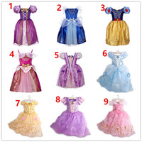 Wholesale puff bow dress online - 9 Color New Baby Girls Dresses Children girl Princess Dresses Wedding Dress Kids Birthday Party Halloween Cosplay Costume Costume Clothes