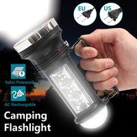 lanterna pendurada gancho venda por atacado-Portátil LEVOU Lanterna Tocha USB Recarregável Luz de Acampamento Solar 3 Modo Super Brilhante Ao Ar Livre Pesquisando Pendurado Gancho Lâmpada de Emergência