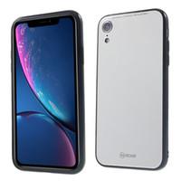 caso teléfono corea al por mayor-Para iPhone XR ROAR KOREA Espejo de superficie de cristal templado Volver + TPU híbrido cubierta de la cáscara del teléfono móvil para iPhone XR 6.1 pulgadas
