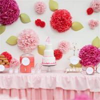 Wholesale tissue balls wholesale - 100pcs 12 inch pom poms flowers tissue paper artificial flower balls wedding party decoration paper flowers