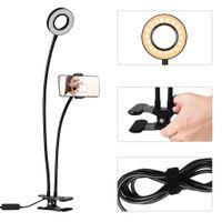 Wholesale Led Shots - USB Power LED Selfie Ring Light With Phone Clip Holder Lazy Bracket Desk For Live Stream Makeup LED Camera Light Video Shoot