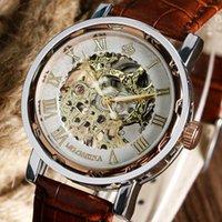 kadınlar için altın kol saati toptan satış-Lüks Altın İskelet Analog Romen Rakamları Dial Kahverengi Deri Kayış Kayışı El-Sarma Erkekler Kadınlar Için Mekanik Bilek İzle