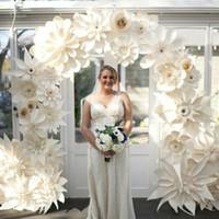 bouquet flores artificiais achat en gros de-50 PCS Mix Tailles Styles Carton Giant Papier Fleurs Pour Vitrine Toiles de Fond De Mariage Accessoires flores artificiais para decora o