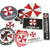 şemsiye rozeti toptan satış-Araba styling 3D Alüminyum alaşım Şemsiye corporation araba çıkartmaları Resident Evil çıkartmaları amblem süslemeleri roz ...