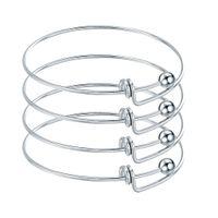 ausziehbarer edelstahl großhandel-10 stücke Edelstahl Blank Einstellbare Erweiterbar Draht Armbänder Armreifen Für DIY Charme Armreif Schmuck