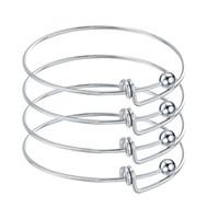 cables cableados al por mayor-10 unids de acero inoxidable en blanco ajustable de alambre expansible pulseras brazaletes para DIY encanto joyería del brazalete