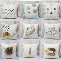 Wholesale Office Sofa Designs - Soft velvet pillow case bronzing printed pillow covers sofa cushion cover car office home decor 16 designs YW523