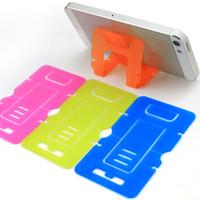 kartenhalter für handy großhandel-Tragbare Kartentelefonhalter Bunte Handyhalter Niedliche Mini-Faltbare Ständerhalter für Mobiltelefone
