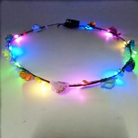 Wholesale Christmas Wreath Decorations Wholesale - LED Glow Flower Crown Headbands Light Party Rave Floral Hair Garland Wreath Wedding Flower Girl Headpiece Decor c385